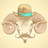 Sketch cute ram in hipster style Royalty Free Stock Photography