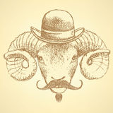 Sketch cute ram in hipster style Royalty Free Stock Photos