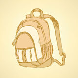 Sketch cute school backpack Stock Photo