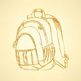 Sketch cute school backpack Stock Images