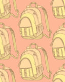 Sketch cute school backpack in vintage style Royalty Free Stock Photography