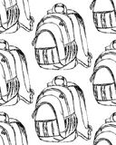 Sketch cute school backpack in vintage style Royalty Free Stock Image