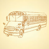 Sketch cute school bus. In vintage style Royalty Free Stock Images