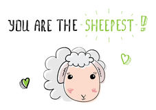 Sketch cute sheep. Illustration for Saint Valentines day. Stock Photography