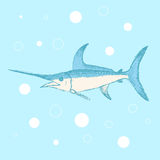 Sketch cute swordfish in vintage style Stock Image
