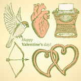 Sketch cute Valentine set Royalty Free Stock Photography