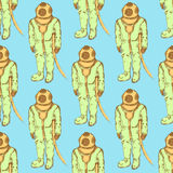 Sketch cute vintage diving suit Royalty Free Stock Images