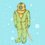 Sketch cute vintage diving suit Stock Images