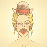 Sketch cute woman with hat and mustache Royalty Free Stock Photography