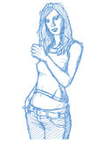 Sketch cute woman shows well done Royalty Free Stock Images