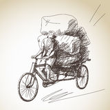 Sketch of cycle rickshaw Royalty Free Stock Photo