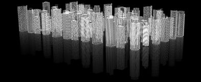 Sketch of 3d cityscape Stock Images