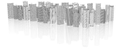 Sketch of 3d cityscape Royalty Free Stock Image