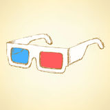Sketch 3d glasses in vintage style Royalty Free Stock Photo