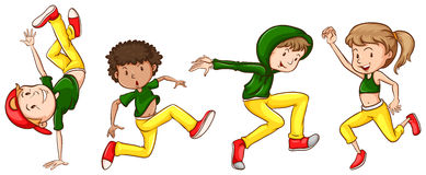 A sketch of the dancers with green and yellow outfits Stock Photo