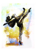 Sketch of dancing woman Hand drawn Stock Photography