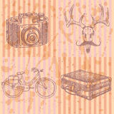 Sketch deer with mustache, suitecase, bicycle and photo camera, Royalty Free Stock Photography