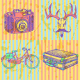 Sketch deer with mustache, suitecase, bicycle and photo camera, Royalty Free Stock Photo