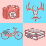 Sketch deer with mustache, suitecase, bicycle and photo camera, Stock Photo