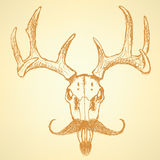 Sketch deer with mustache, vector vintage background Royalty Free Stock Images