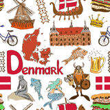 Sketch Denmark seamless pattern Royalty Free Stock Image
