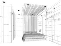 Sketch design of bedroom Royalty Free Stock Photo