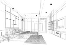 sketch design of bedroom Royalty Free Stock Photography