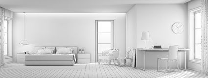 Sketch design of bedroom and living room in luxury house, Modern interior of home office Stock Photography
