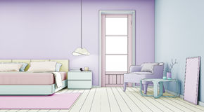 Sketch design of bedroom and living room in modern house Stock Photos