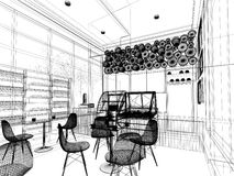 Sketch design of coffee shop ,. 3d wire frame render Stock Photo