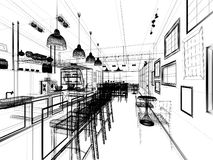 Sketch design of coffee shop Stock Photos
