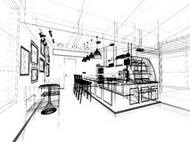 Sketch design of coffee shop Royalty Free Stock Image