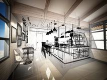 Sketch design of coffee shop Stock Photos