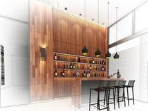 Sketch design of counter bar Stock Image