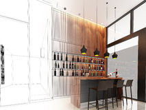 Sketch design of counter bar Stock Photos