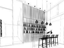 Sketch design of counter bar Stock Photo