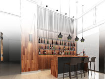 Sketch design of counter bar. 3dwire frame render Royalty Free Stock Photo