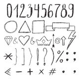 Sketch design elements. Numbers. Set of hand drawn graphic signs Stock Image