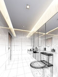 Sketch design of interior bathroom Stock Photo