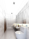 Sketch design of interior bathroom Stock Images