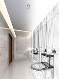 Sketch design of interior bathroom Royalty Free Stock Photos