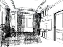 Sketch design of interior bedroom Stock Images