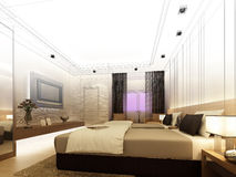 Sketch design of interior bedroom Royalty Free Stock Images