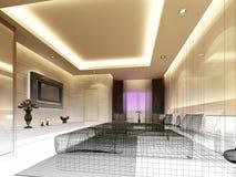 Sketch design of interior bedroom Stock Images