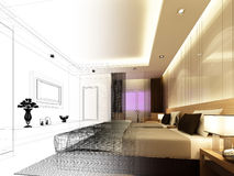 Sketch design of interior bedroom Royalty Free Stock Photography