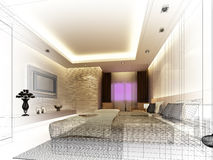 Sketch design of interior bedroom Stock Photography
