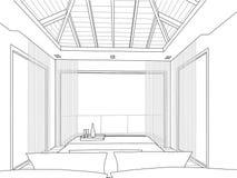 Sketch design of interior bedroom - Vector illustr Royalty Free Stock Photo