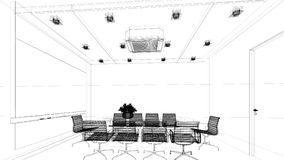 Sketch design of interior conference Stock Photo