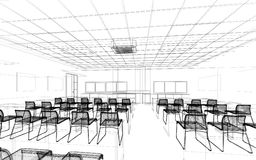 Sketch design of interior conference Stock Photography