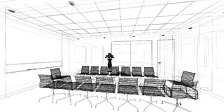 Sketch design of interior conference Stock Images